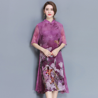 Chinese-style spring and summer new improved Cheongsam (Purple)