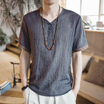 Chinese-style V-neck short sleeved t-shirt (Gray)