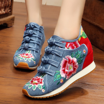 Chinese-style Women's Embroidered Wedges Beef Tendon Cloth Shoes (Blue)