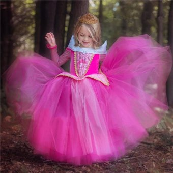 Christmas Gift Fairy Princess Sleeping Beauty Aurora Ball Gown ForGirls Halloween Cosplay Costume Kids Party Wear Tulle Dress(color:Pink) - intl