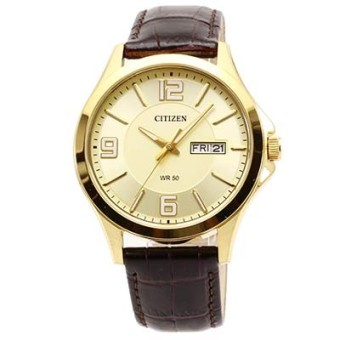 Citizen Quartz Standard Men's Brown Leather Strap Watch BF2008-05P