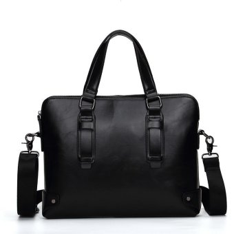 Classic Britian Tote Single Shoulder Large Capacity LeatherBusiness Bag (black) - intl