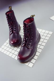 Classic British lace military boots Martin boots (Wine red color)
