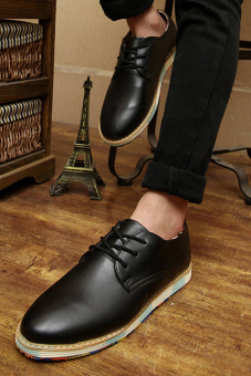 Classic Fashion Simple Men Leather Flat Shoes Black - picture 2