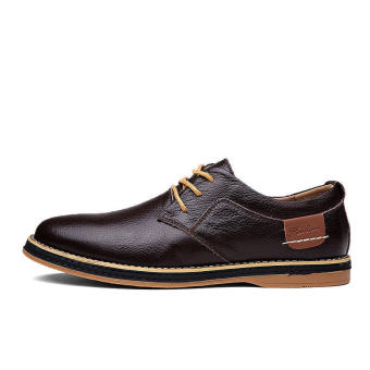 Classic Men Leather Lace-Ups Formal Shoes-Brown - picture 2