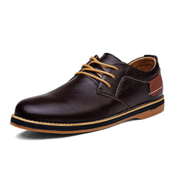 Classic Men Leather Lace-Ups Formal Shoes-Brown