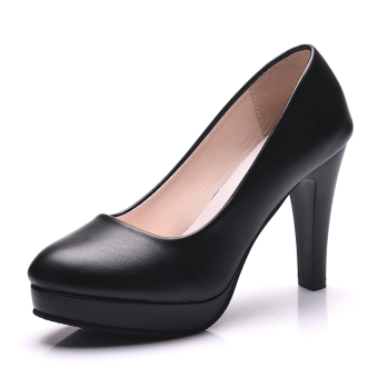 Classic New style waterproof Taiwan fine with Round Four Seasons shoes black high-heeled shoes (991 black LOFTEX 10 cm)