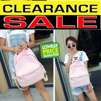 Clearance Sale !!! Pilot 5036 New Korean Plain Style Canvas Backpack Bag School Student Casual Outdoor Bag (Baby Pink)