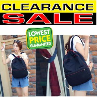 Clearance Sale !!! Pilot 5036 New Korean Plain Style Canvas Backpack Bag School Student Casual Outdoor Bag (Black)