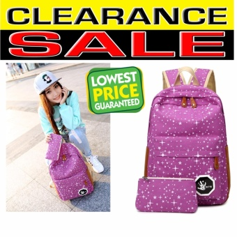 Clearance Sale !!! Pilot 7006 Korean Fashion Style 2 Piece CanvasStar Print Casual Outdoor Student 2 in 1 Backpack Bag With HandPouch (Purple)