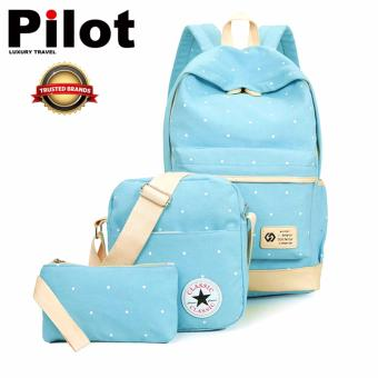 Clearance Sale !!! Pilot 9003 Korean 3-Pieces Leisure Style OxfordCanvas Laptop Shoulder Bag Hand Pouch Casual Backpack Bag WithPouch(Light Blue)