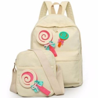 Clearance Sale !!! Pilot 9008 Korean Sweet Lollipop Style 2 Piece Oxford Canvas Sweet Lollipop Laptop Shoulder Bag Hand Pouch Casual Backpack Bag(Cream)