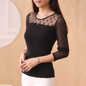 Cloth Chatter Court Women's Lace Fleece-lined Long Sleeve Bottom Shirt- Black (Dotted models black)