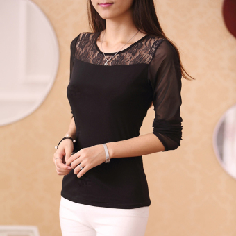 Cloth Chatter Court Women's Lace Fleece-lined Long Sleeve Bottom Shirt- Black (Lace paragraph black)
