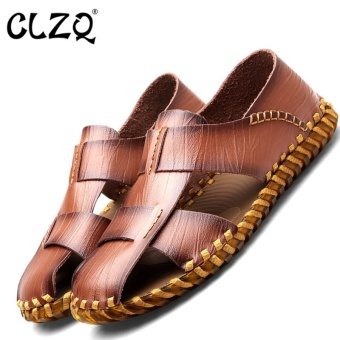 CLZQ 2017 Summer Mens Leather Sandals Gladiator Casual Beach SlideShoes Breathable Outsole Hand Tendon Sandals -Brown - intl Price Philippines