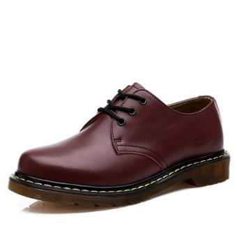 CLZQ Fashion Low Cut Shoes 2017 Oxfords Shoes for Men and WomenUnisex Lace Up Genuine Leather Shoes (Red) - intl - 4
