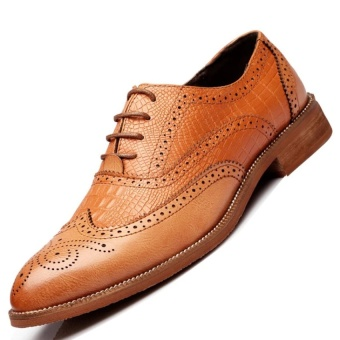 CLZQ Genuine Leather Men Formal Shoes Business Shoes (Brown) - intl