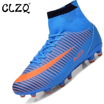 CLZQ Men 's Outdoor Sports Football Shoes Professional CompetitionGrass Training Sneakers Large Scale 39-46 Blue Long Nails - intl Price Philippines
