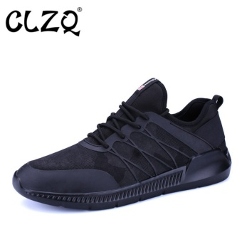 CLZQ New Men's Spring and Summer Men's Running Shoes Walking SportsRubber Breathable Shoes 2017 Men's Sports Shoes Flat Shoes-Black -intl