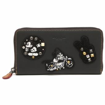 Coach Accordion Zip Wallet in Glove Calf Leather With MickeyPatches - Black