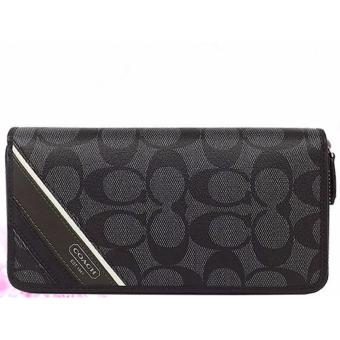 Coach Heritage Stripe Men's Long Wallet-Black