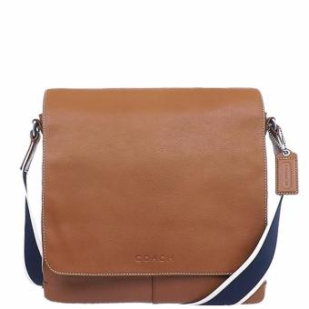 Coach Heritage Web Leather Map Bag - Tan
