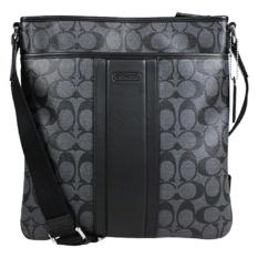 5b1c3facf580 Coach Mens Signature Heritage Small Zip Top Crossbody Messenger Bag -  Charcoal Black ...