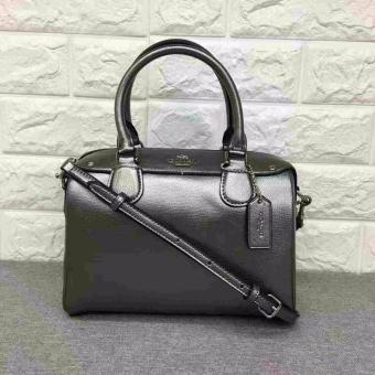COACH MINI BENNETT SATCHEL IN METALLIC LEATHER SILVER/GUNMETAL - 2