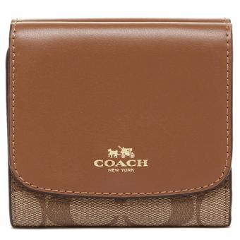 Coach Small Wallet in Signature - Brown