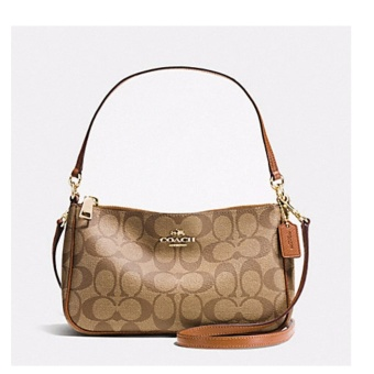Coach Top Handle Pouch in Signature KHAKI