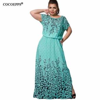 COCOEPPS 2017 Summer Women L-6XL Chiffon Print Long Dress ShortSleeve Casual Floor-Length Large Big Size Maxi Dresses vestidos -intl