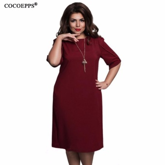 COCOEPPS fashionable loose women dresses big sizes NEW 2017 plus size women clothing half sleeve vestidos casual o-neck dress - intl