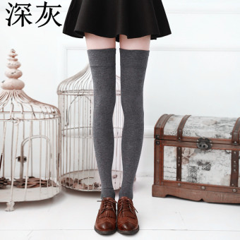 College style cotton black full over-the-knee socks (Dark gray color)