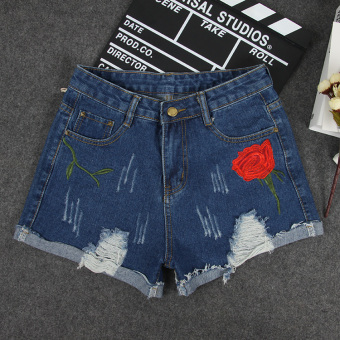 College style summer embroidered three points shorts New style shorts (Dark blue color)