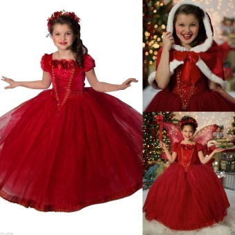 (Color:Red ) Frozen Kids Girls Dresses Costume Snow White Princess Party Fancy Dress + Cape - intl Price Philippines