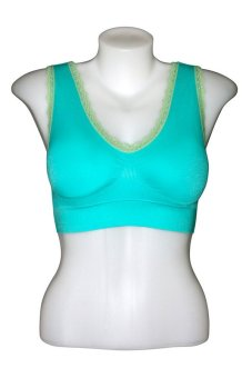 Comfia Laced Two Tone Ultra Comfortable Seamless Bra (Green)