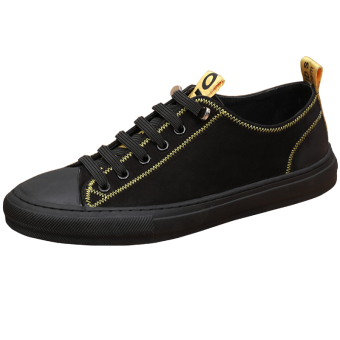 Comfortable leather foot covering skateboard shoes men's casual shoes (Black)