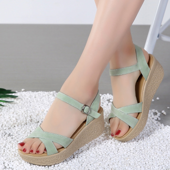 Comfortable leather thick bottomed semi-high heeled sandals platform shoes (Leather green)