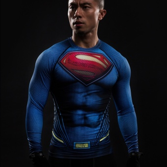Compression Shirt Flash 3D Printed T-shirts Men Raglan Long SleeveSuperman Flash Cosplay Costume Fitness Clothing Tops Male - intl