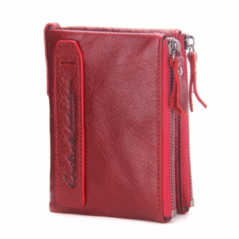 CONTACT'S Brand Men Genuine Leather Wallet Boys Double Zipper ShortCoin Purse Bifold Card Holder Hasp (Red) - intl