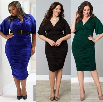 Cool Cool Women's Plus Size Sexy Fashion Casual V-Neck Dress(Green)- intl - 2