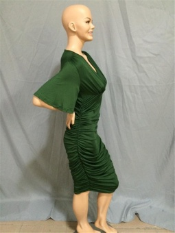 Cool Cool Women's Plus Size Sexy Fashion Casual V-Neck Dress(Green)- intl - 4