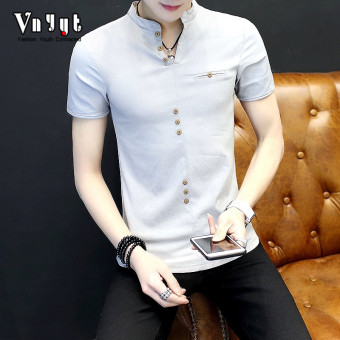 Cool men New style youth T-shirt polo shirt (1705 gray)