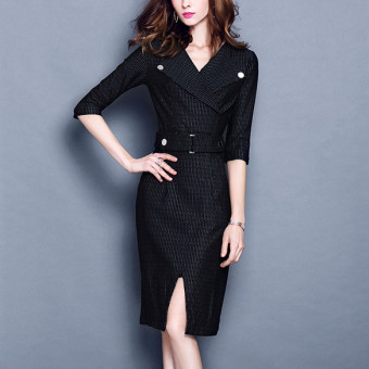Cool solid color autumn New style dress (Black striped)