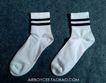 Cool versatile Cotton Short Tube skateboard men's socks striped socks (White Socks (black bars))