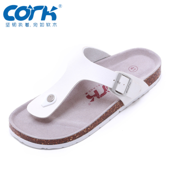 Cork female flat cork slippers sandals (White)
