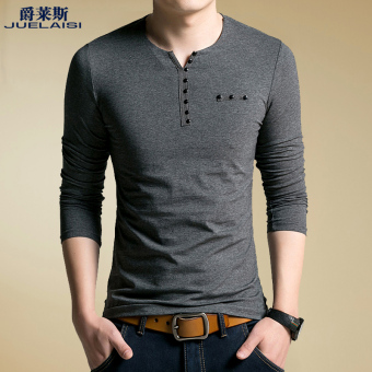 Cotton autumn and winter men's long-sleeved t-shirt (-Gray-)