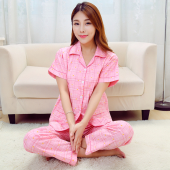 Cotton Cloth female cardigan summer tracksuit cotton cloth pajamas (Pink plaid (short sleeved))