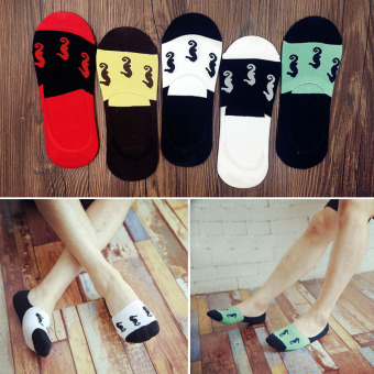 Cotton deodorizing summer thin wicking Socks ([Five double men's] hippocampus no-show socks)