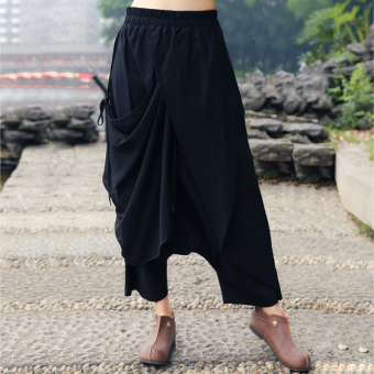 Cotton linen elastic waist big crotch pants (Black)